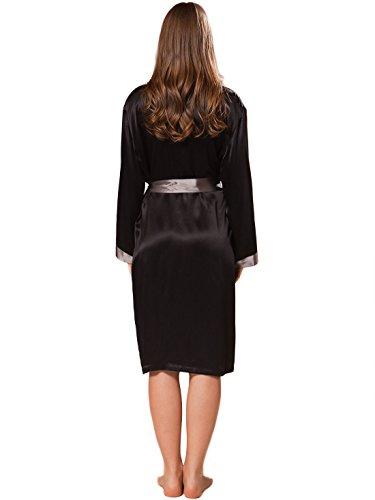 Ellesilk Frauen Seide Robe Noir / Charbon