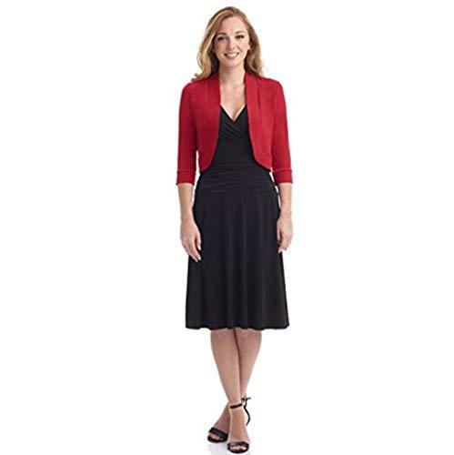Xmiral Anzug Mantel Damen Einfarbig Kurz Kragenlos Blazer Mini Büro Arbeits Jacke Winter Strickjacken Steppjacke Langarm Übergröße Sweatjacke(Rot,L) -