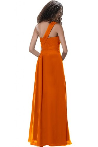 Sunvary Modern spalle formale Prom Gowns anteriore Split, Party Dresses Orange