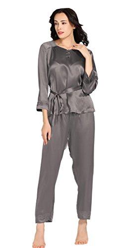 LILYSILK Ensemble de Pyjama Femme 100% Soie Dentelle Élégante 22 Momme Gris Foncé