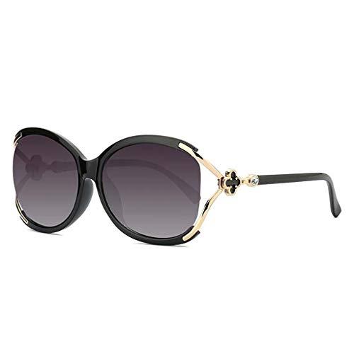 MEIEI Sonnenbrillen, Fox Head Polarized Sonnenbrillen Big Box Damen Sonnenbrillen UV400 Schutz Fahren Mehrfarbenrahmen (Color : Black Frame)