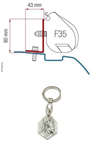 Zisa-Kombi Fiamma Adapter Nissan NV200/Evalia für F35 (932988433415) mit Anhänger Hlg. Christophorus (Nissan Adapter Anhänger)