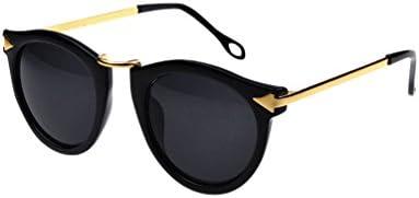 MissFox Gafas de Sol Moda Vintage para Mujer y Hombre Gafas Lente Ronda UV400 Sunglasses