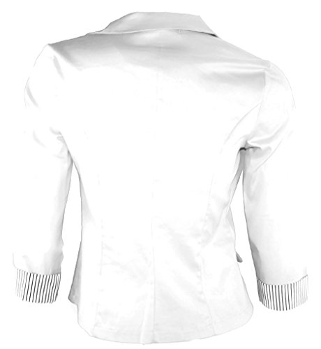 #2124 Damen Blazer Baumwolle Jäckchen Business Office Freizeit Casual Party Jacke Oberteil in Größen Weiß