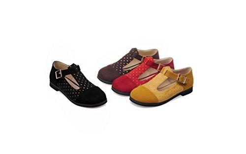 Beauqueen Pompe a forma di T Primavera E L'estate piatto Matte College di stile giallo rosso marrone nero 33-52 dei pattini casuali femminili delle donne Red