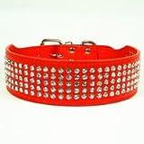 Lushpetz Hundehalsband für mittelgroße, große und XL-Hunderassen, sehr breit, 5 cm breit, Bitte Breite angeben (XS, Rot)