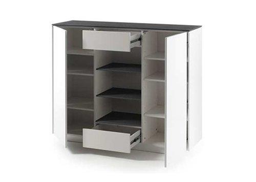 Highboard in matt weiß mit Deckplatte aus Glas in Steinoptik grau, 2 Türen, 2 Schubkästen, 3 Fächer und 6 Einlegeböden, Maße: B/H/T ca. 129/109/40 cm - 2