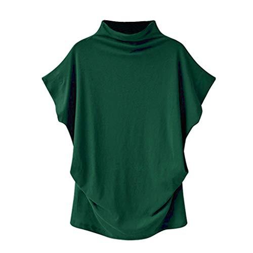 Damen Kurzarm Tunika mit Rollkragen, Rovinci Frauen Sommer Einfarbig Fledermaus T-Shirt Übergröße Asymmetrisch Stretch Falten Oberteile Casual Loose Shirt Bluse Tops Pulli Hemd Blusenshirt Longshirt - Kariertes Bikini-top