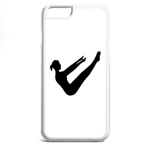 Smartcover Case Pilates z.B. für Iphone 5 / 5S, Iphone 6 / 6S, Samsung S6 und S6 EDGE mit griffigem Gummirand und coolem Print, Smartphone Hülle:Samsung S6 EDGE weiss Iphone 6 / 6S weiss