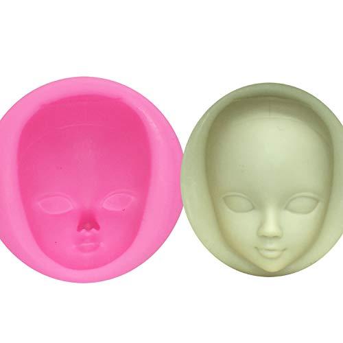 Stampo in silicone a forma di viso di ragazza per decorare torte, strumenti per la decorazione di torte, pasta di gomma, argilla polimerica e resina