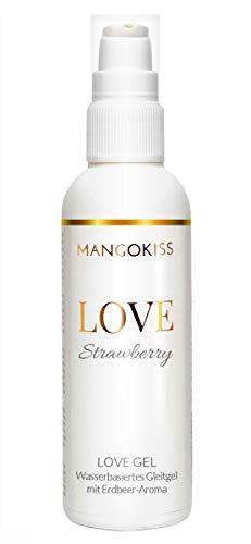MangoKiss LOVE STRAWBERRY - Essbares Gleitgel mit Erdbeere Geschmack - Veganes Gleitmittel auf Wasserbasis - kondomgeeignet, für Oralverkehr und Sex