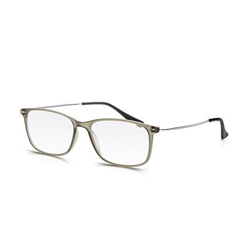 Read Optics Lesebrille für Damen/Herren in Stärke +2,0 Dioptrien: Rechteckige Brille im Vintage-Stil mit Premium Difuzer Gläsern. Matt Grauer Polykarbonat-Ramen und dünne Bügel aus rostfreiem Stahl