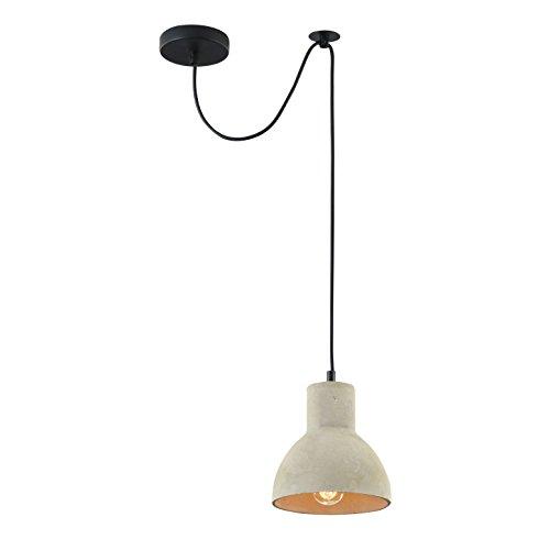 Designer Beton Pendelleuchte Loft, Schirm in grauer Farbe, schwarzes Kabel, Höhenverstellbar, 1-flammig, exkl. E27 40W, 220-240V