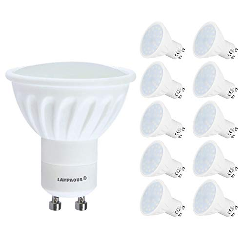 Lampaous 10er Pack Led GU10 5 Watt Dimmbar Led Leuchtmittel Reflektorlampe gu10 450lm superhell Ersatz für 35 bis 40 Watt Halogen Lampe warmweiss mit Milchglas Abedeckung -