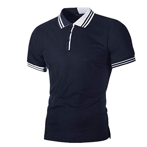 kolila Herren Slim Polo Tops Sommer Lässig Feste Kurzarm Einfache Streifen Nähte T-Shirts Tee Tops