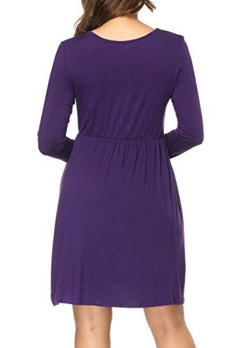 Damen Kleider Langarm T Shirt Kleid Swing Cocktailkleid Jerseykleid Skaterkleid Lila