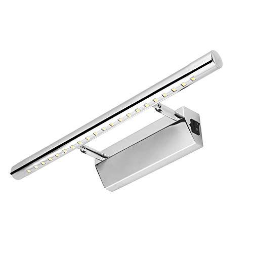 ABEDOE 5W 40cm Espejo LED de Luz Frontal para Baño,3000K Blanco Cálido,Aplique de pared de Acero Inoxidable...