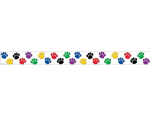 Teacher Created Ressourcen gerade Border Trim, Colorful Paw Prints (4641) (Print Grenze Paw)