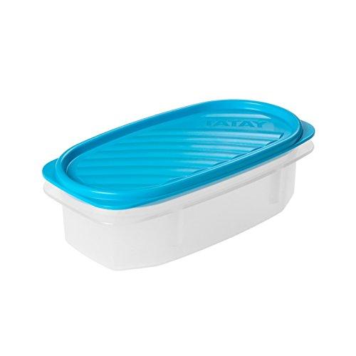 TATAY - Contenedor de alimentos ovalado con tapa flexible azul, libre de BpA, capacidad 0.5 L