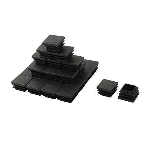 Dealmux Plastique Chaise Table carrée jambe Pieds Tube Pipe Insert capuchon 32 mm x 32 mm 30 pcs Noir