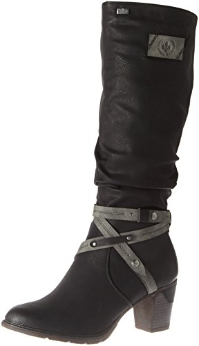 Rieker Damen 96054 Stiefel, Schwarz/Smoke 00, 40 EU