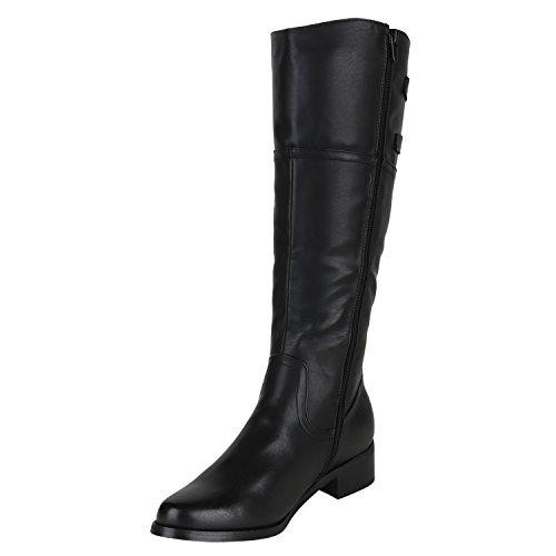Stiefelparadies Damen Reiterstiefel Cowboystiefel Leder-Optik Gefütterte Stiefel Metallic Blockabsatz Schuhe Schnallen Lack Boots Fransen Flandell Schwarz Schnallen