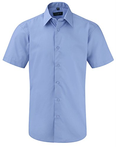Womens 3/4 Sleeve Poplin Shirt (Russell Athletic Herren Business-Hemd Gr. Large, Blau - Corporate Blue)