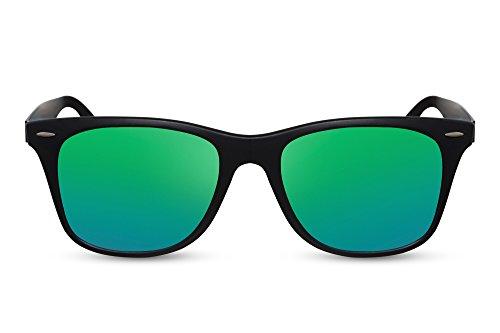 Cheapass Sonnenbrille Verspiegelt Matt-Schwarz Grün-Blau UV-400 Festival-Brille Plastik Damen Herren