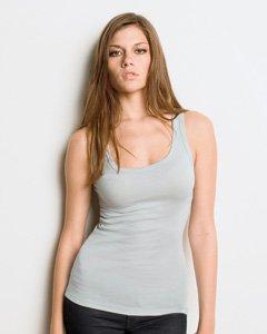 Bella Damen Sheer Jersey länger Länge Tank Top. 8780 Cremefarben