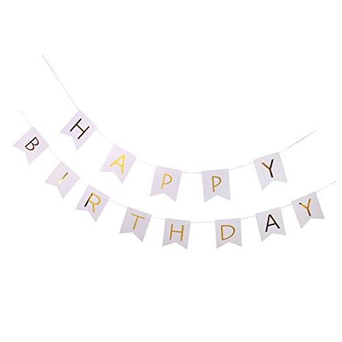 MagiDeal Happy Birthday Girlande Banner Geburtstag Dekorationen - Weiß