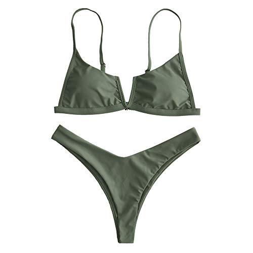 Zaful bikini donna imbottito sexy costume da bagno due pezzi taglio alto pushup con perizoma bikini donna mare (l, verde militare)