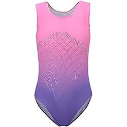 Dkhsy Justaucorps de Gymnastique pour Filles Sparkle Gradient Color Dancewear Costume de Ballet sans Manches en Une pièce 5-14 Ans