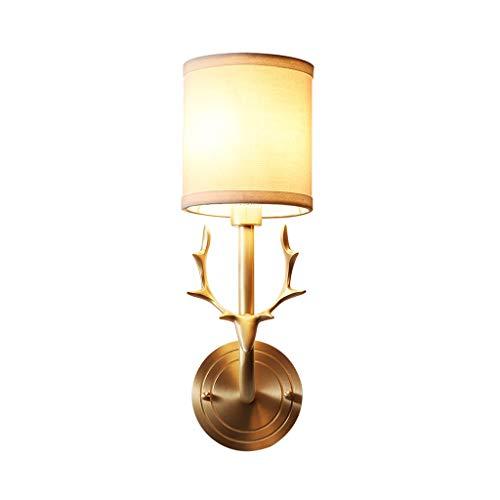 Antler Messing Wandleuchte Leuchte mit Leinenstoffschirm - Mid Century Wandleuchte aus gebürstetem Messing, antike Nachttischlampe Schlafzimmer Flur, E27 A+ -
