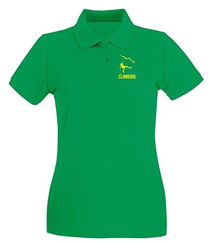 T-Shirtshock - Polo pour femme SP0051 Climbing Maglietta Vert