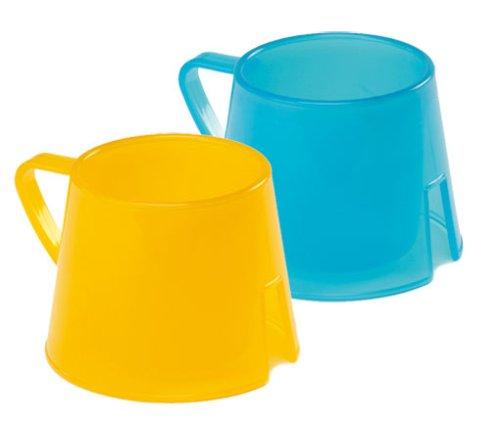 Steady Cup Trinklerntasse mit breitem Boden für Kinder - 2 Stück blau/gelb