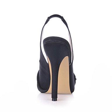 LvYuan Damen-Sandalen-Büro Kleid Party & Festivität-Seide-Stöckelabsatz-Komfort-Schwarz Black