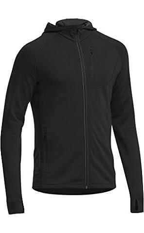 Icebreaker Men's Quantum Zip Hood Long Sleeve GT Technical Mid Layer Top - Black/Black, 2X-Large