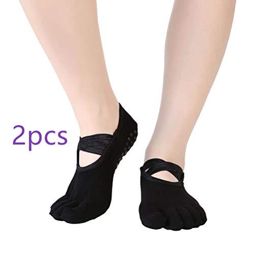 SuperCimi 2 Paar Zehensocken für Frauen Baumwolle Lässig Yoga Atmungsaktiv Unsichtbar Rutschfeste Socke -