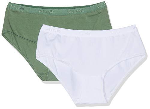 Nur Die Damen Panty Doppelpack Hipster, Mehrfarbig (Oliv/Weiß 349), 44 (Herstellergröße: 44-46)