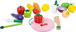 small foot company- Frutas y Verduras Cortar, 30 Piezas. Set con Cuchillo de Madera y un Plato Juguetes, Multicolor (Small Foot by Legler 11224)