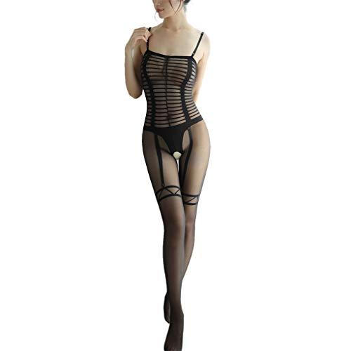 Damen sexy Bodysuit, Nachtwäsche Dessous Frauen, Spitze Öffnung einteiliges Mesh, bluestercool Netzstrümpfe mit offenem Schritt Body Stocking -