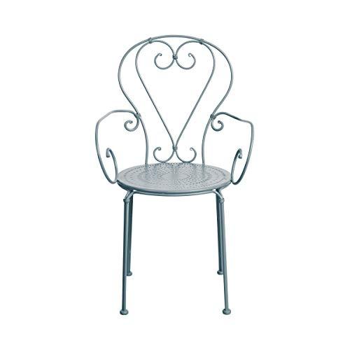BUTLERS Century Stuhl mit Armlehnen in Grau 53x49x91 cm - Gartenstuhl mit Armlehne aus Eisen - Stuhl für Balkon