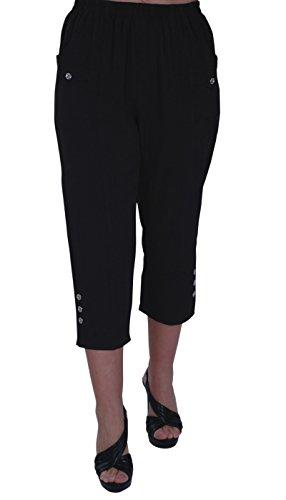 EyeCatch - Verde Damen Capri Crop Hose Flexi Stretch Plus Größen Frauen 3/4 Hosen Crop Capri