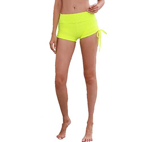 Heißer Abstand! DDKK Damen Kurze Yoga-Seitentaschen Hohe Taille Workout Laufhose Hoher Taille halbe Länge Laufhose L grün -