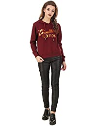 TEXCO Maroon Foil Printed Crop Hooded Women Sweatshirt