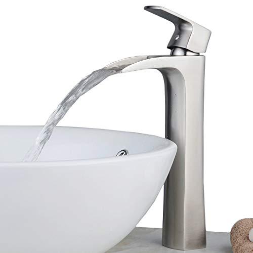Hoch Einhebel Waschtischarmatur wasserhahn für Bad Waschbecken Wasserfall Waschtischmischer Armaturen Spültischarmaturen Badarmatur Mischer Gebürstetes Nickel -