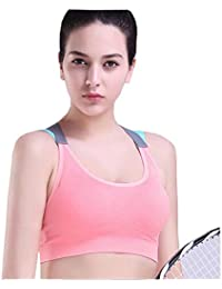 b6ec486eaa Womens Padded Sports Bra Sexy Cross Straps Back Womens Professional Quick  Dry Shockproof Racer Back Gym