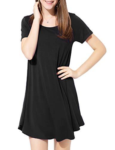 BELAROI Kleider Damen Sommerkleid Blusenkleid A Linie Kleid Casual Freizeitkleid Kurzarm Tunikakleid Lose Fit Strandkleid,Schwarz,M Basic-design-kleid