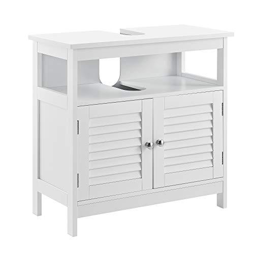 [en.casa] Mueble para debajo de lavabo con 2 puertas y con estante - 60x60x30cm - blanco