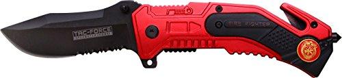 Tac-Force Adultes Couteau d'extérieur Fire Department Rescue, Longueur de la Lame: 7,6tafo Couteau de 1158, Rouge, 7,6cm